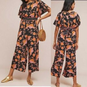 Anthropologie Maeve belted botanical jumpsuit